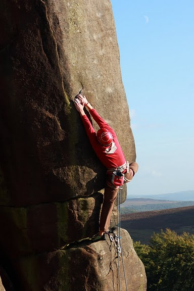 Pete Whittaker on his new route Common Misconception (E6 6c) at Stanage, 50 kb