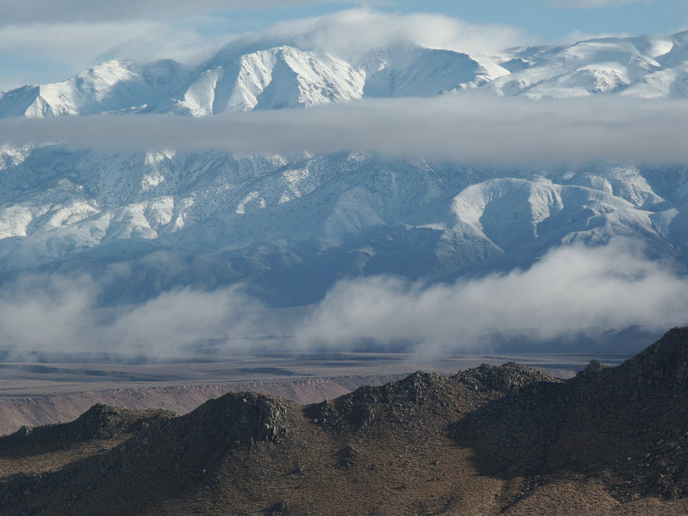A storm clearing the Owens Valley. From the Buttermilk looking across the Tungsten Hills, the Volcanic Tableland to the White M, 127 kb