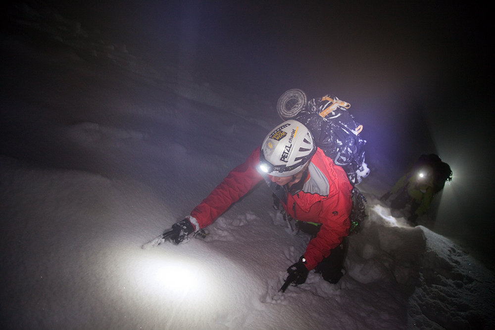 Tim Emmett retreating in a storm back to the Grands Montets, 85 kb