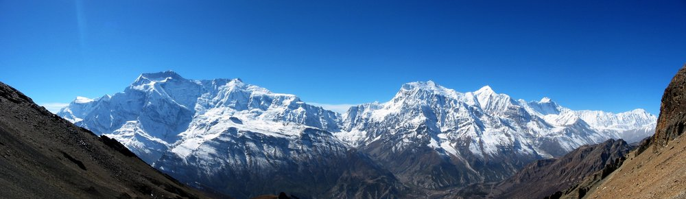 The Annapurna Himal from the northeast, Annapurna III is centre right., 59 kb