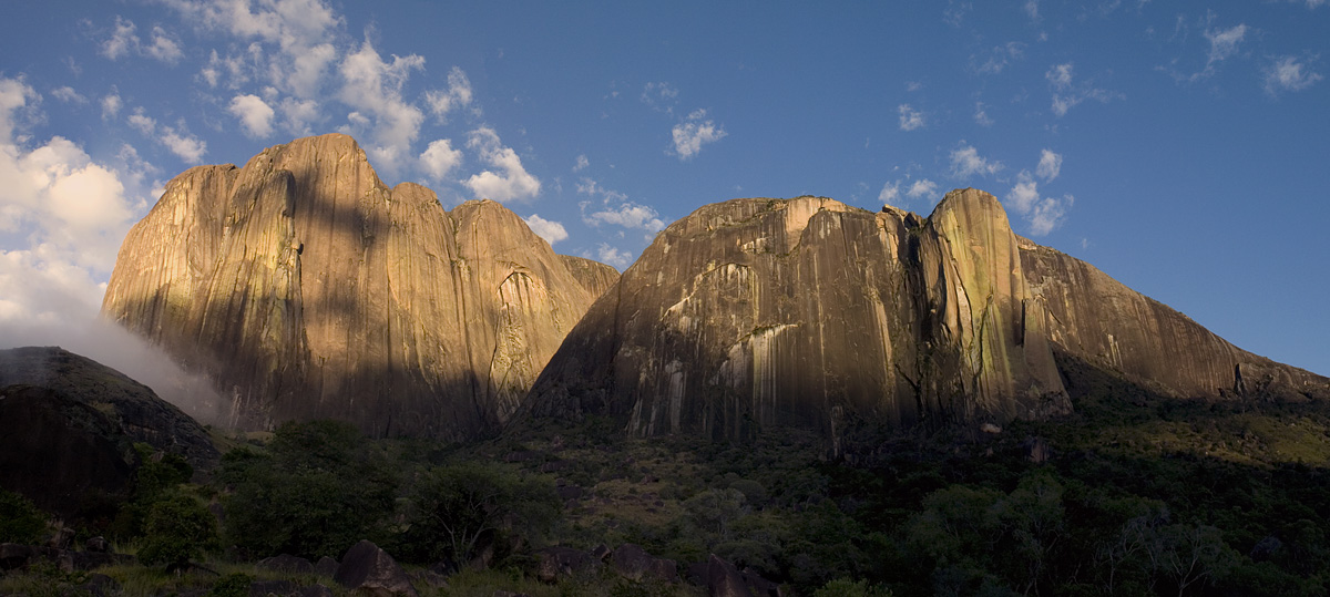 The Tsaranoro Massif of Madagascar, with early morning cloud billowing down the valley from the left., 230 kb