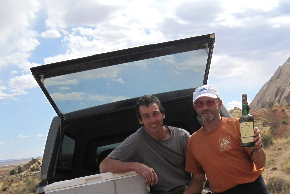 Lance Bateman and Paul Ross celebrate after Paul's 500th new route., 89 kb