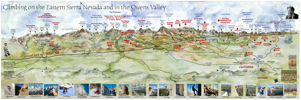 Climbing on the Eastern Sierra Nevada and in the Owens Valley: Watercolour, line, photos., 200 kb
