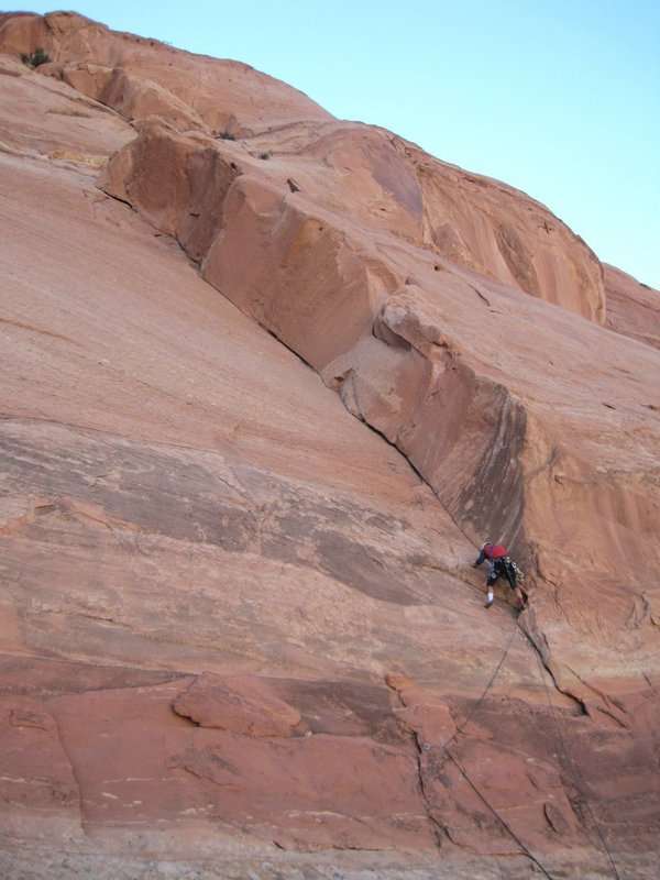 Paul Ross attempting pitch one of his 500th new route - Team 500, 79 kb