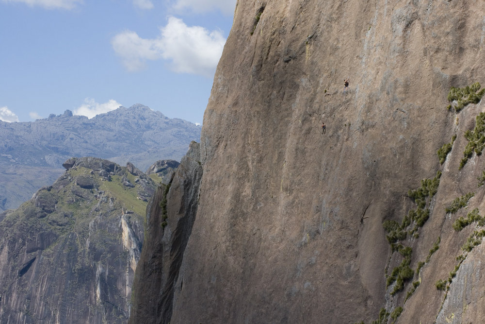 James McHaffie and Stephen Horne onsighting  'Always the Sun' (F7c+) on the S Face of Karambony, 160 kb