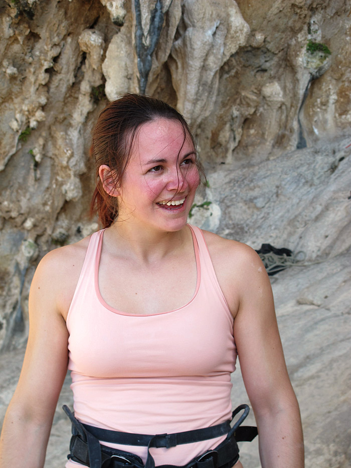 Emma Twyford looking tired but happy after her successful onsight of Aegialis (F7c), Kalymnos, 173 kb