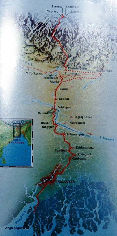 The route taken by Tim Macartney-Snape on his sea to summit trip, 95 kb