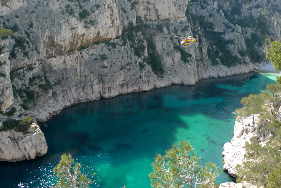 A helicopter rescue in the beautiful En Vau in the Calanques near Marseille., 144 kb