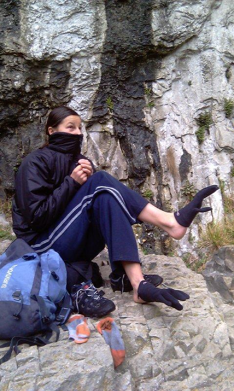 Barbara at Malham, the secret of her good footwork is revealed, 118 kb