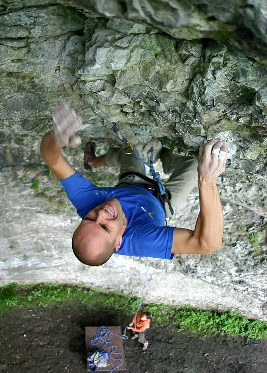Adrian Berry on the final moves of Rubicon (F7a) at the eponymous crag, 122 kb