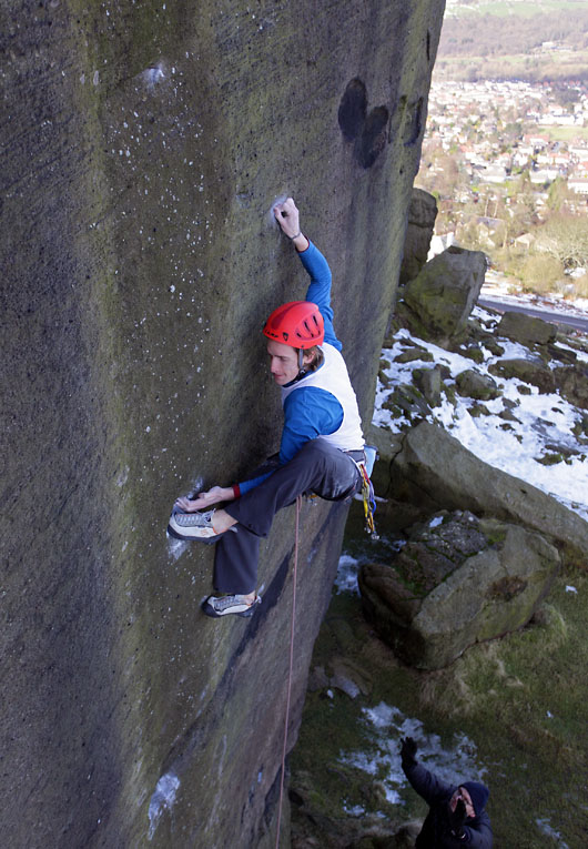 James grabbing the second ascent of Gery Berwick at Ilkley, 132 kb