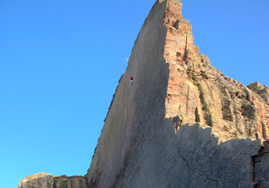 Dave Birkett high on 'Once Upon a Time in the Southwest' (E9) at Dyer's Lookout on the Culm Coast, 52 kb