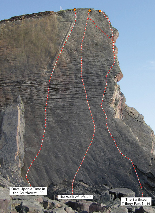 Dyer's Lookout topo with the three super-routes, 178 kb