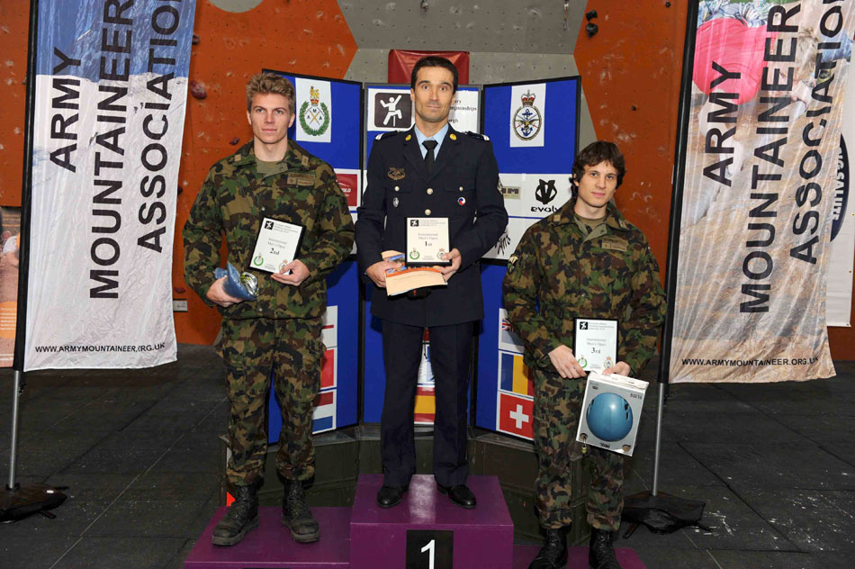 Sgt Dimitri Munoz (FRA) winner of the European title, men's ahead of Sdt Christoph Zaugg (SUI) and Sdt Daniel Winkler (SUI), 152 kb