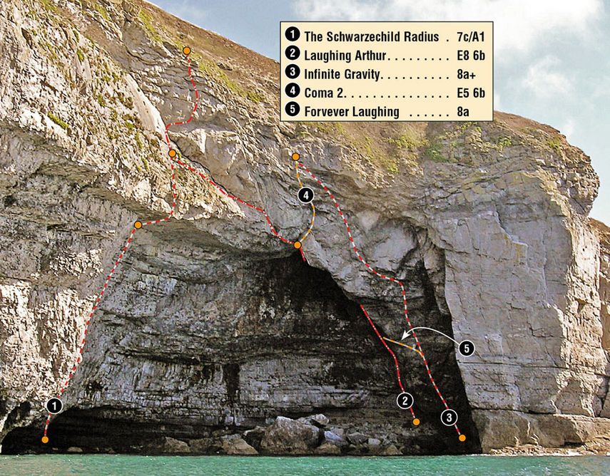 The routes in Blacker's Hole, Dorset, 218 kb