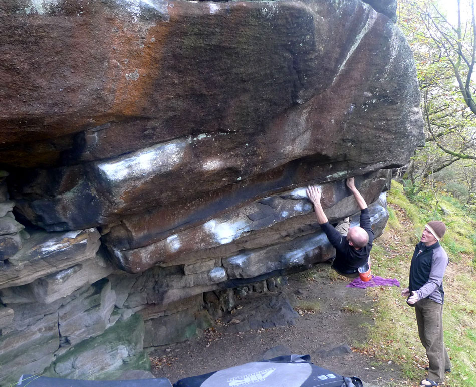 Craig Smith on the world class Wicker Man Font 7a at Mythom Steep, just above Hebden Bridge., 215 kb