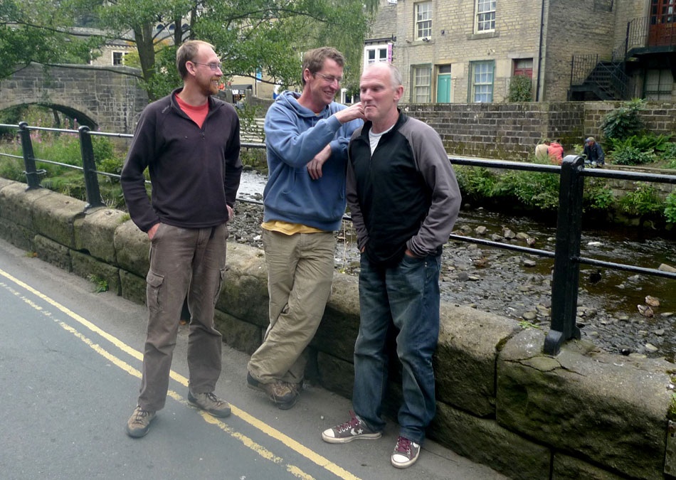 Three amigos: Neil McCallum, Matt Triolett and Mick Johnston, on their way to the Hole in the Wall after a day at The Roost., 170 kb