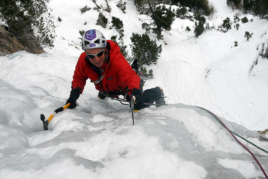 Jerry Gore climbing Dancing Falls, 216 kb