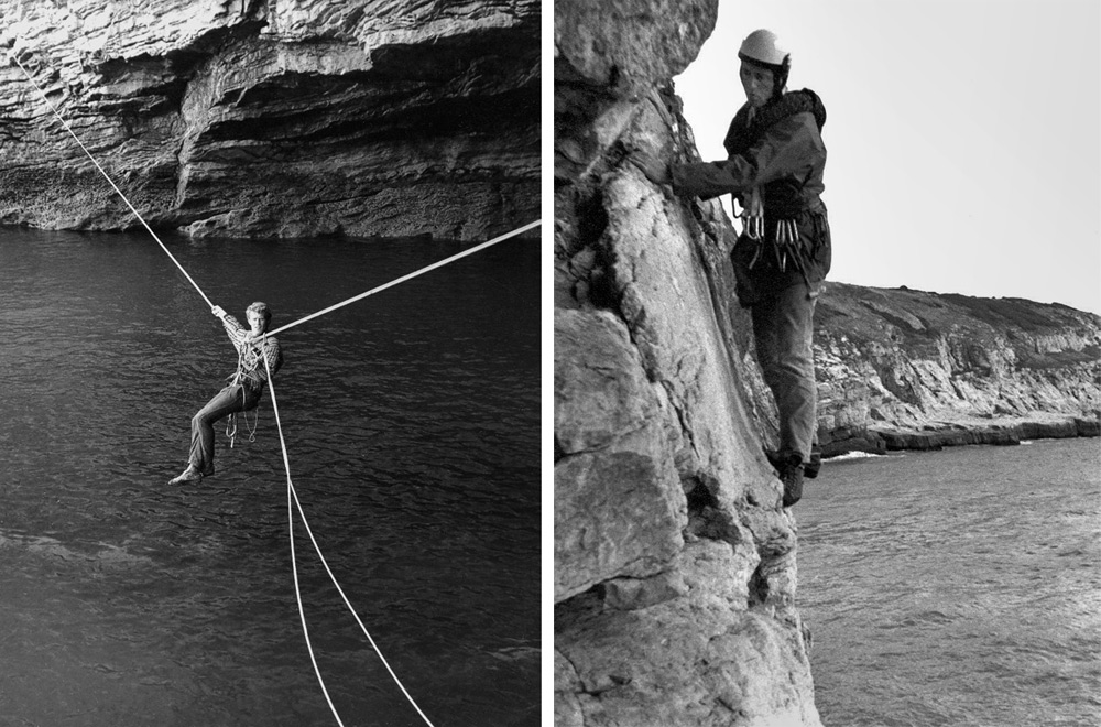 Early pioneers. Frank Cannings on a Tyrolean of the Great Cave. Peter Biven on the Great Cave descent. © FRANK CANNINGS CO, 216 kb