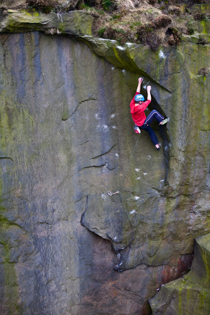 Pete Whittaker on Snap Decision E7 6b Ilkley...Ph Alex Ekins , 129 kb