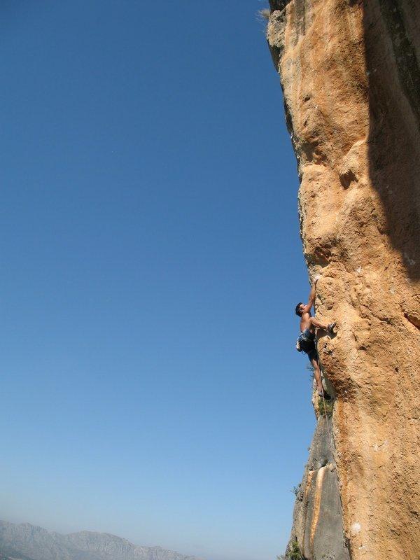 Gaz Parry climbing  L'Espolon De L'Ocaive (F8c) at L'Ocaive in the Costa Blanca, Spain., 59 kb
