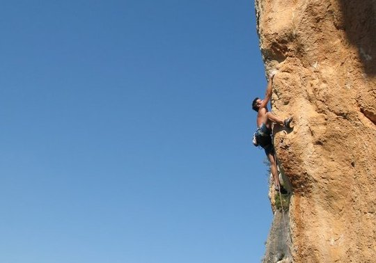 Gaz Parry climbing  L'Espolon De L'Ocaive (F8c) at L'Ocaive in the Costa Blanca, Spain., 29 kb