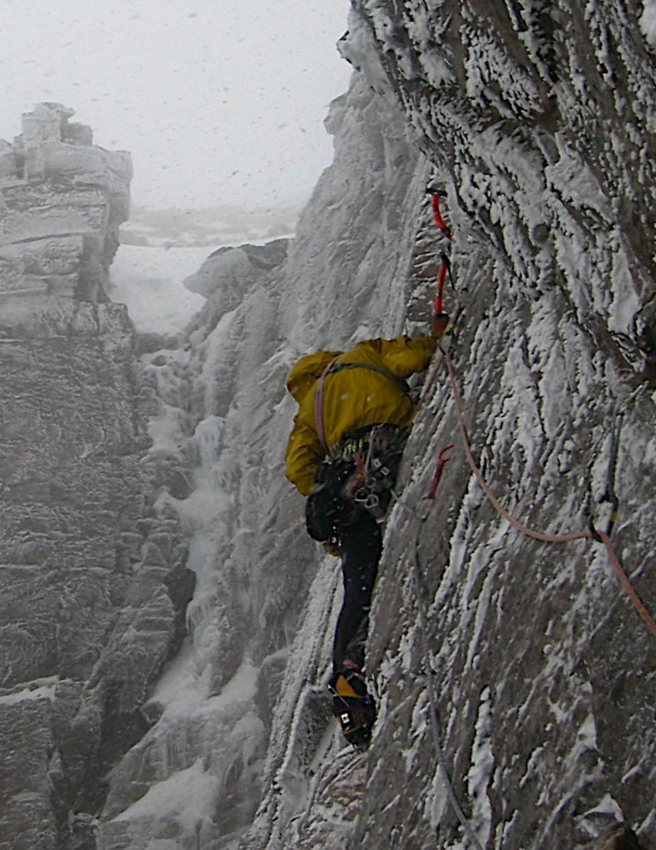 Softshells in a hard place - into the storm on the Torridon classic Blood Sweat and Frozen Tears (pic Tony Stone), 147 kb