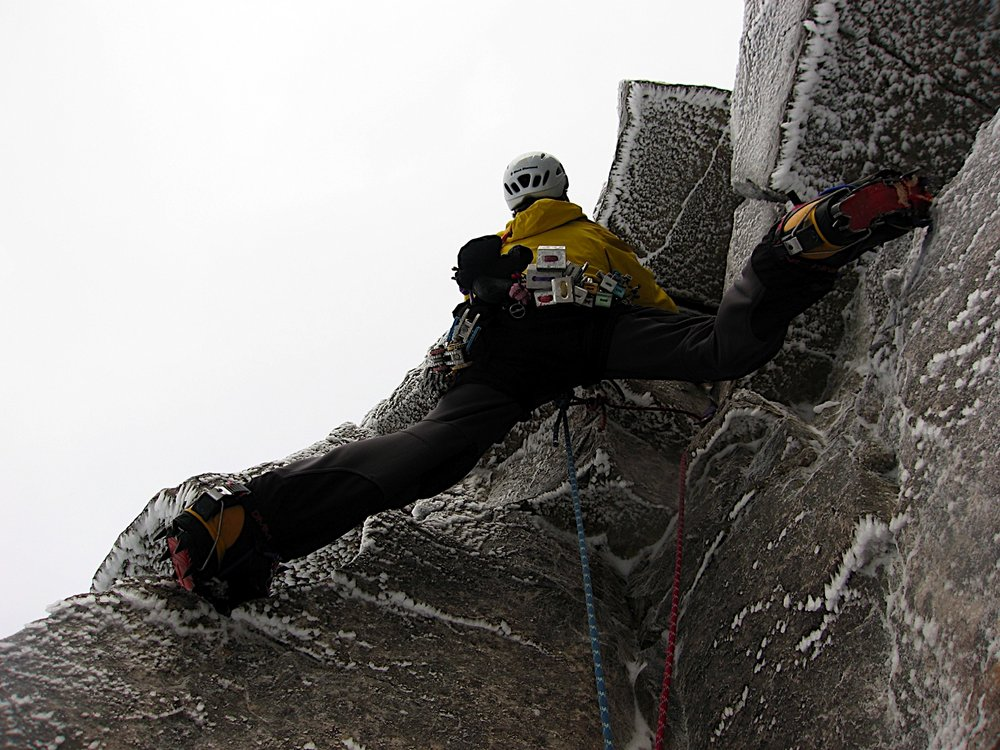 Lightweight boots, monopoint crampons and a big rack - 21st century climbing kit makes it all easier!, 155 kb