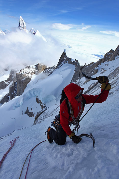 Will Sim just below the summit with the clouds already covering part of Cerro Torre, 96 kb