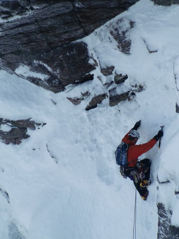 Climber on Invernookie Wall, Cairngorms, 71 kb