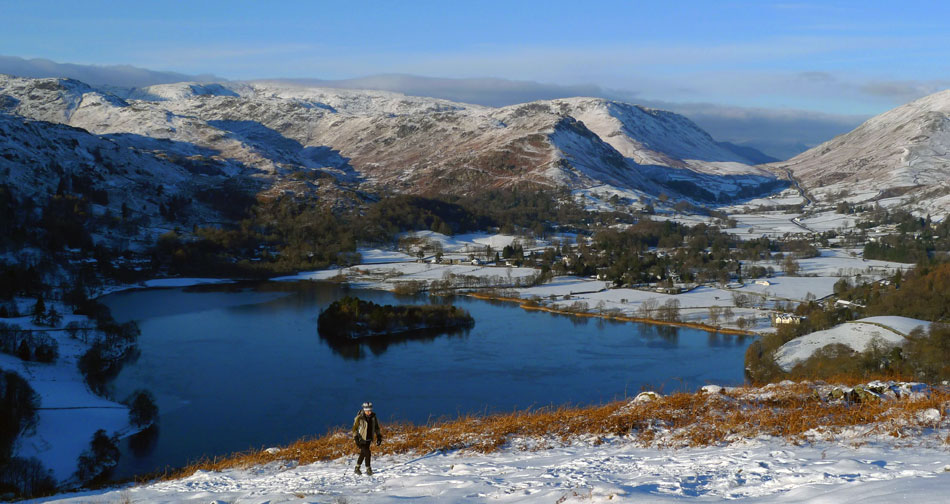 Walker on her way to Loughrigg summit from Grasmere., 120 kb