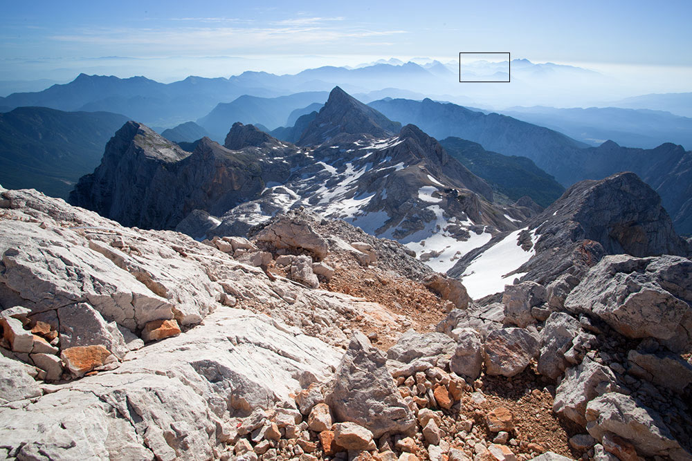 The wide angle shot of the view taken on the way to the summit of Triglav: boxed out is the section Duncan zoomed into., 204 kb