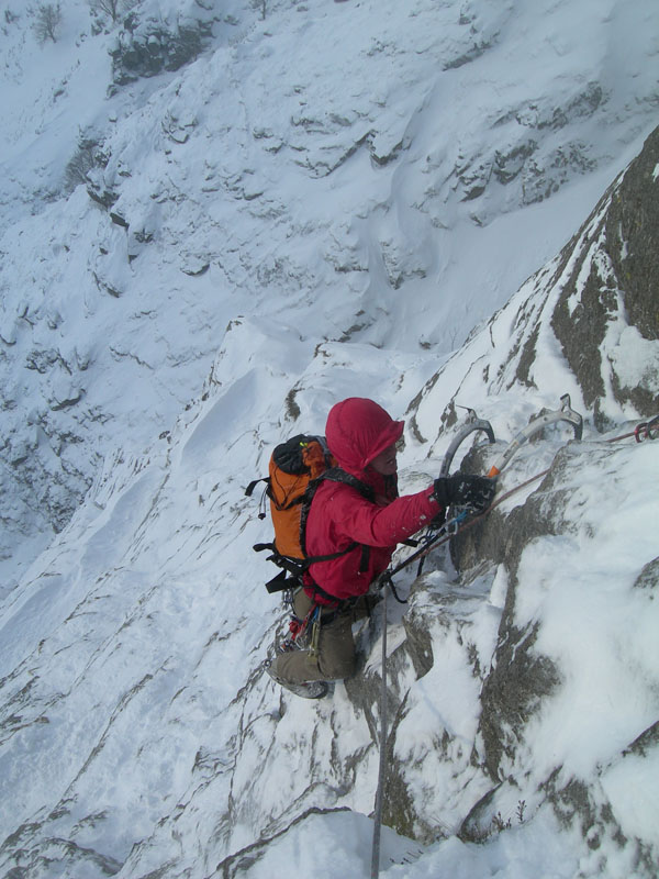 The first winter ascent of D Route, Gimmer, Langdale, 130 kb