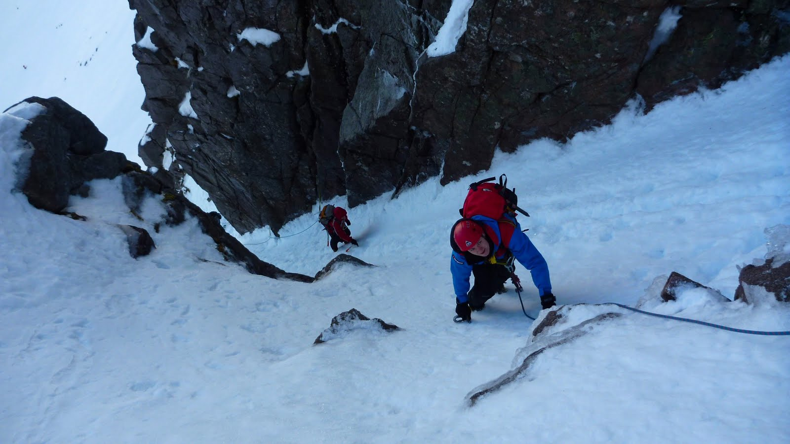 Climbing in Jacobs Ladder, Northern Corries, 132 kb