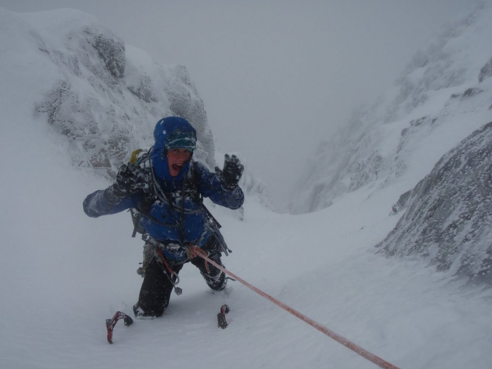 Sally Ozanne enjoying the storm in Green Gully Ben Nevis, 64 kb
