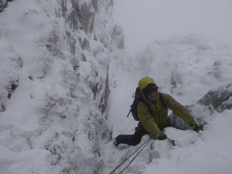 Tom Chamberlain seconding pitch 1 of Central Gully, 91 kb