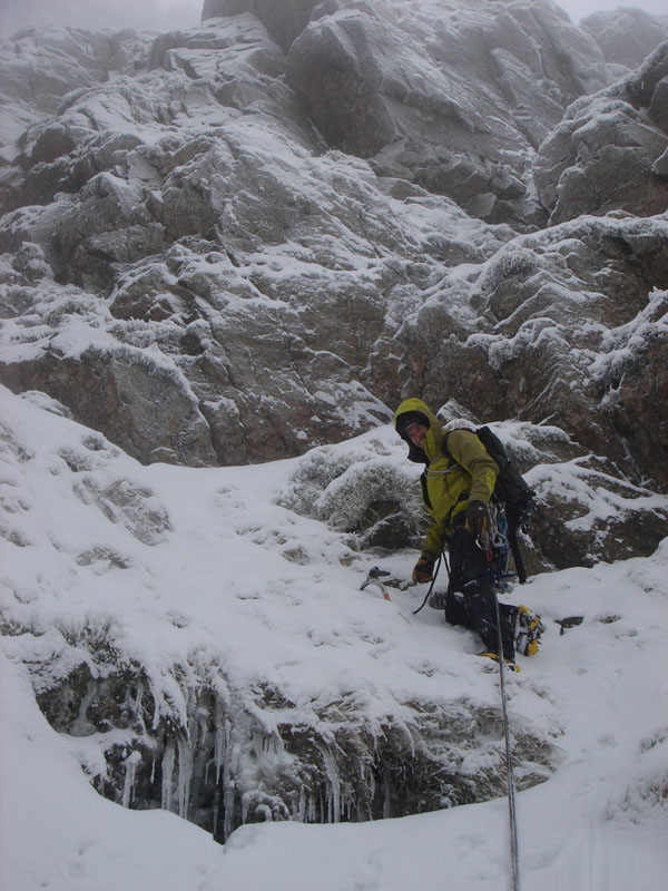 Tom approaching the headwall of Central Gully on P2, 129 kb