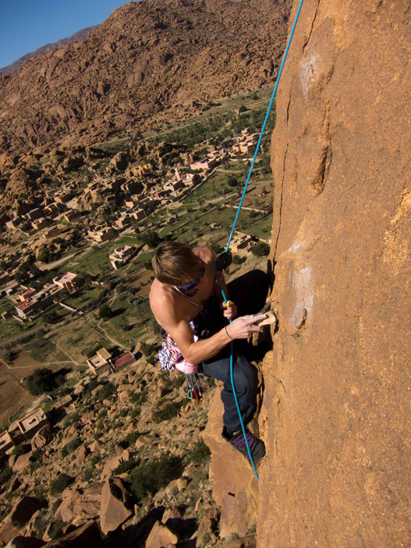 James Pearson cleaning a new route on the granite outcrops of Tafroute, Morocco, 198 kb