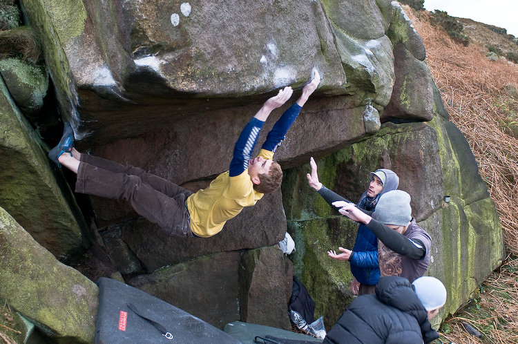 Ned Feehally climbing a direct start in to Golden Egg, 178 kb