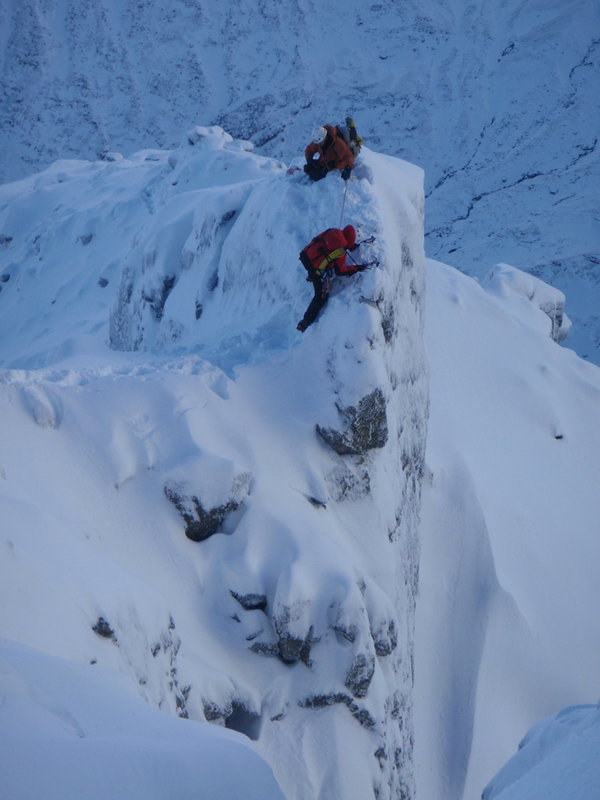 Coming across the crest of Ledge Route on Ben Nevis, 74 kb