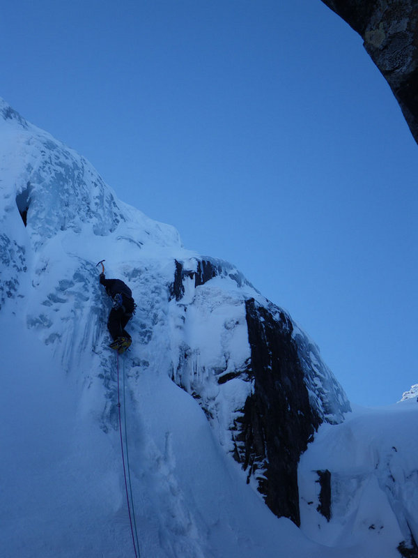 Low level ice on Ben Nevis on the Gulch, 60 kb