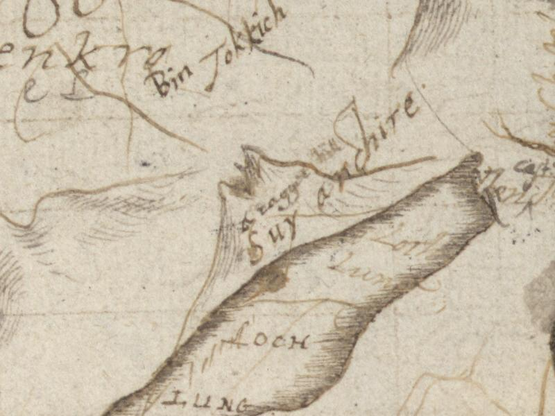 Pont's map of 1590 showing The Cobbler as Suy Arthire, 58 kb