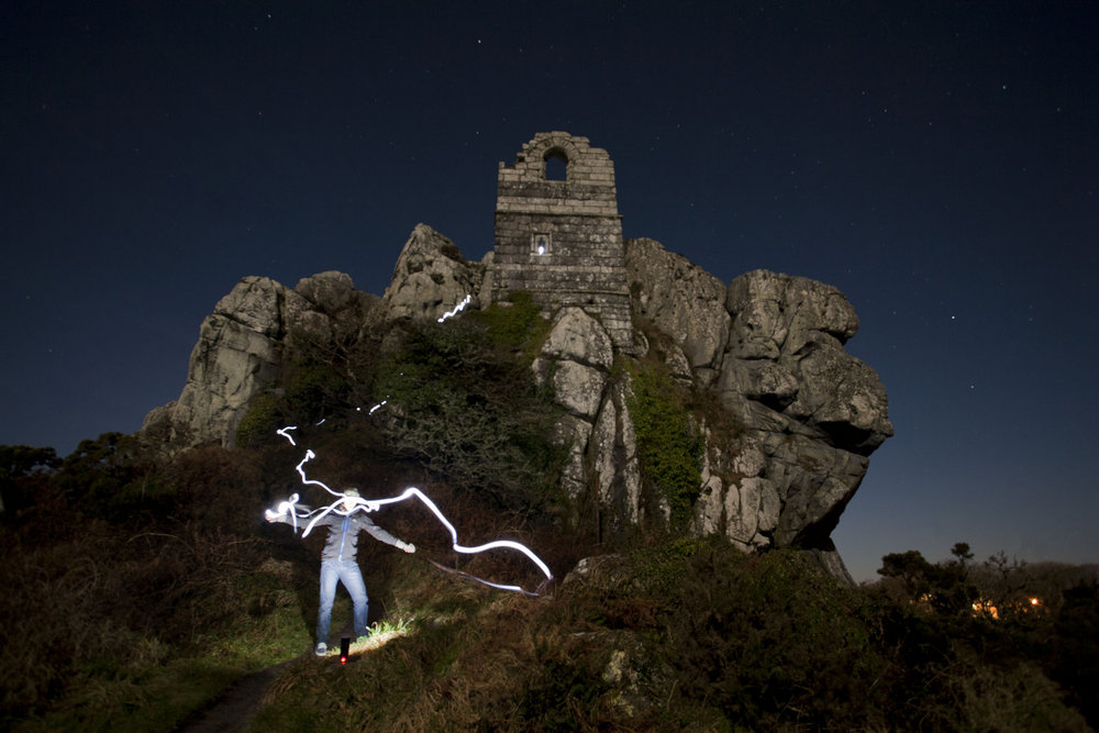 Self portrait at Roche Rock by moon and torchlight, 126 kb