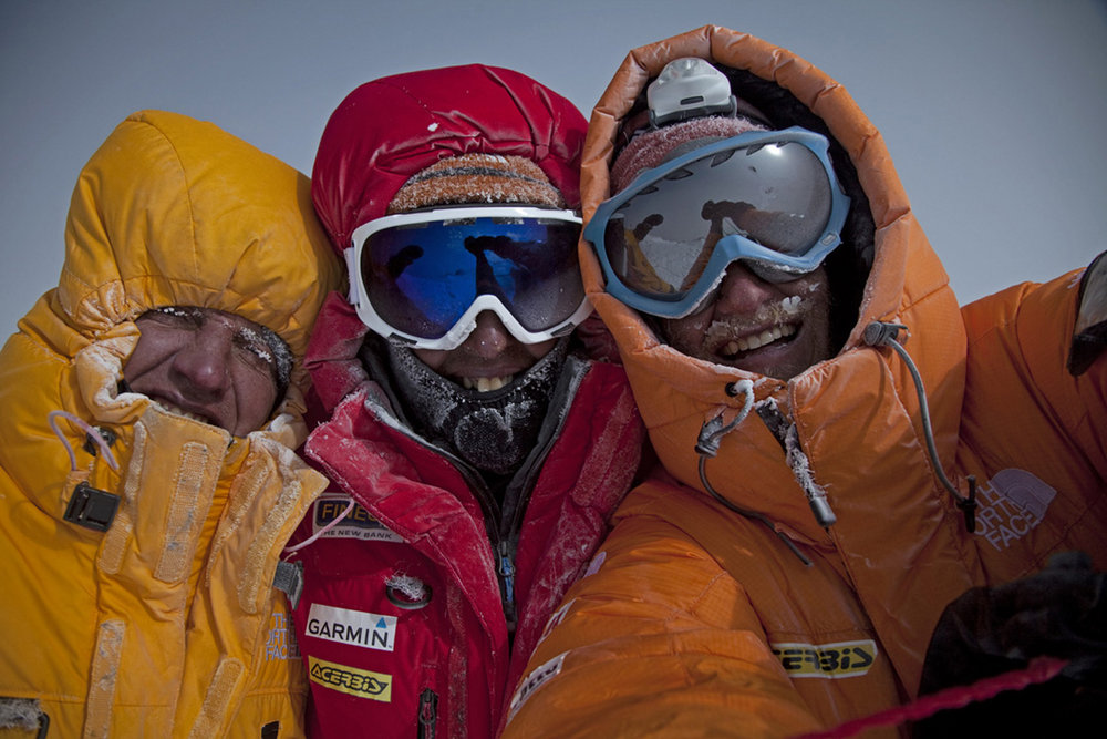 Not long previous the team had been enjoying the summit feeling - the top of Gasherbrum II, 151 kb