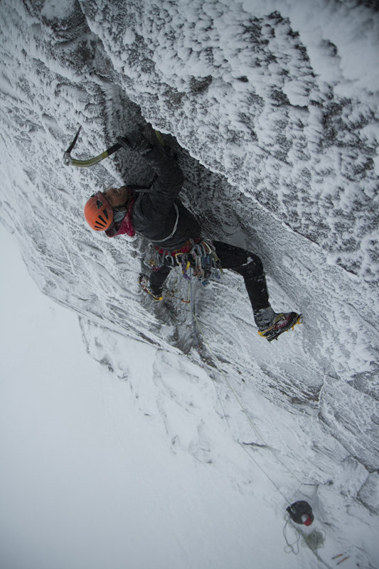 Charly Fritzer getting to grips with steep mixed climbing in Scotland, 106 kb