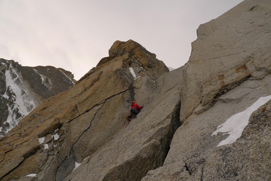 Patrick Pessi on the last headwall before the Tournier spur, 148 kb
