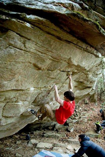James Webb bouldering at The Lilly Boulders, 63 kb