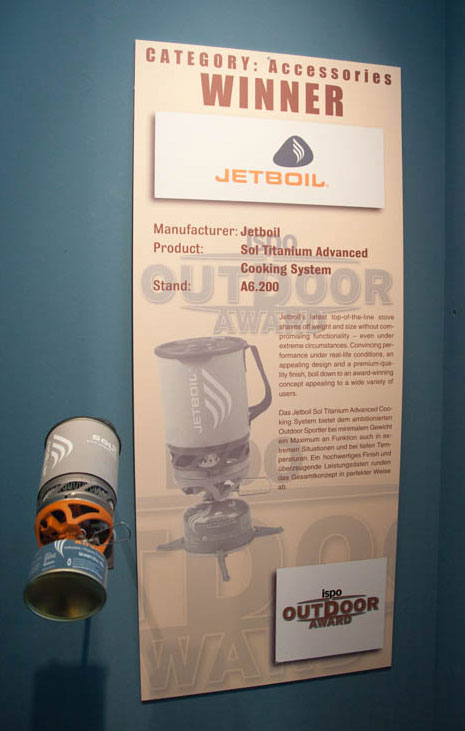 ISPO February 2011 - JetBoil, winner in Accessories, 52 kb
