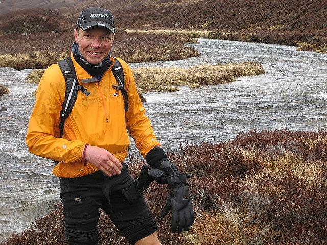 Spyke after a Cairngorm river crossing on his record breaking Munro round, 124 kb