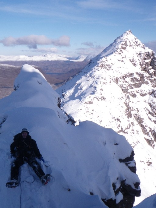 Davey Moy taking a moment on the Pinnacles Liathach, 87 kb